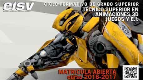 Curso Técnico Superior en Animación 3D, Juegos y Entornos Interactivos